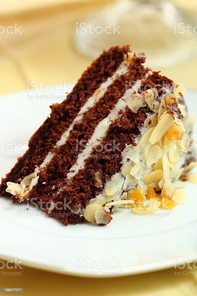 Chocolate Cake with Almonds and Candied Orange Peel royalty-free stock photo