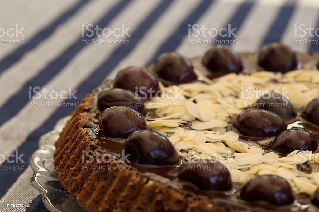 Chocolate Cake With Cherries And Almond royalty-free stock photo