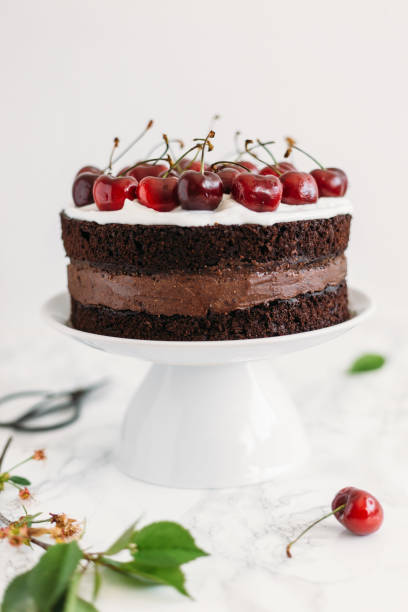 Chocolate cake with cherries on white marble background. Sugar free, lactose free concept stock photo