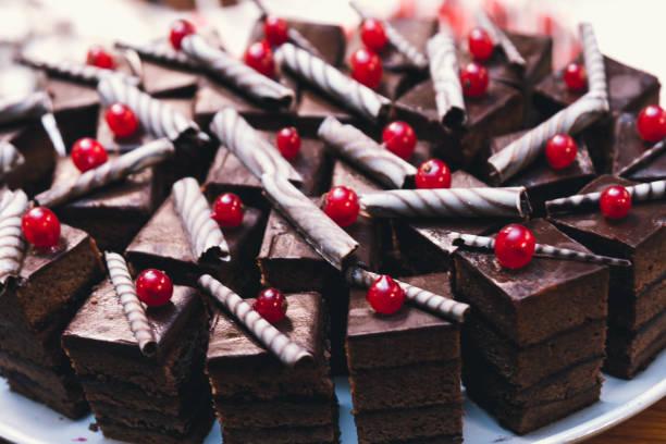Chocolate Cake With Cherry stock photo