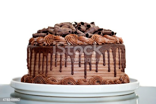 istock Chocolate Cake with Chocolate Fudge Drizzled Icing and Chocolate Curls 478348860