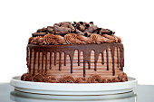 Chocolate Cake with Chocolate Fudge Drizzled Icing and Chocolate Curls