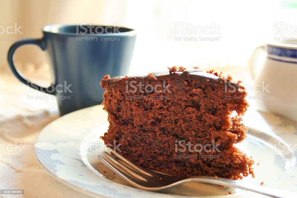 chocolate cake with coffee stock photo