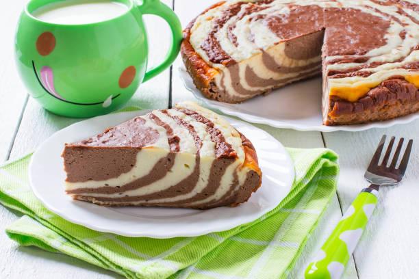 Chocolate cake with cottage cheese Zebra stock photo