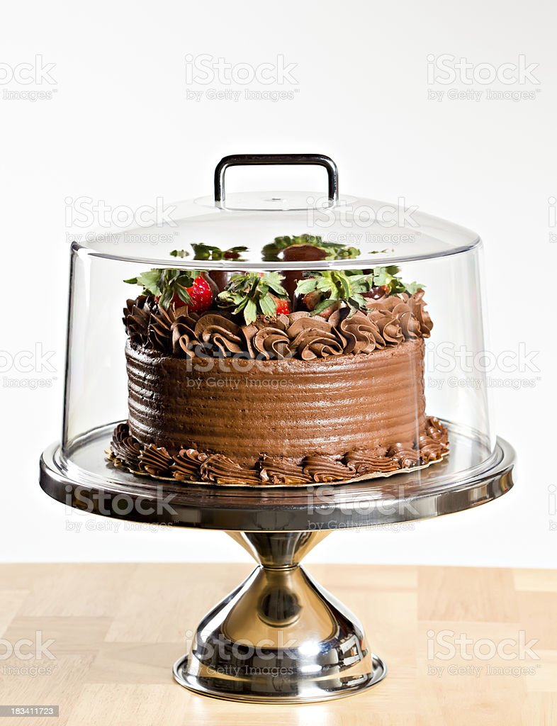 Chocolate Cake With Cover Dome Isolated stock photo
