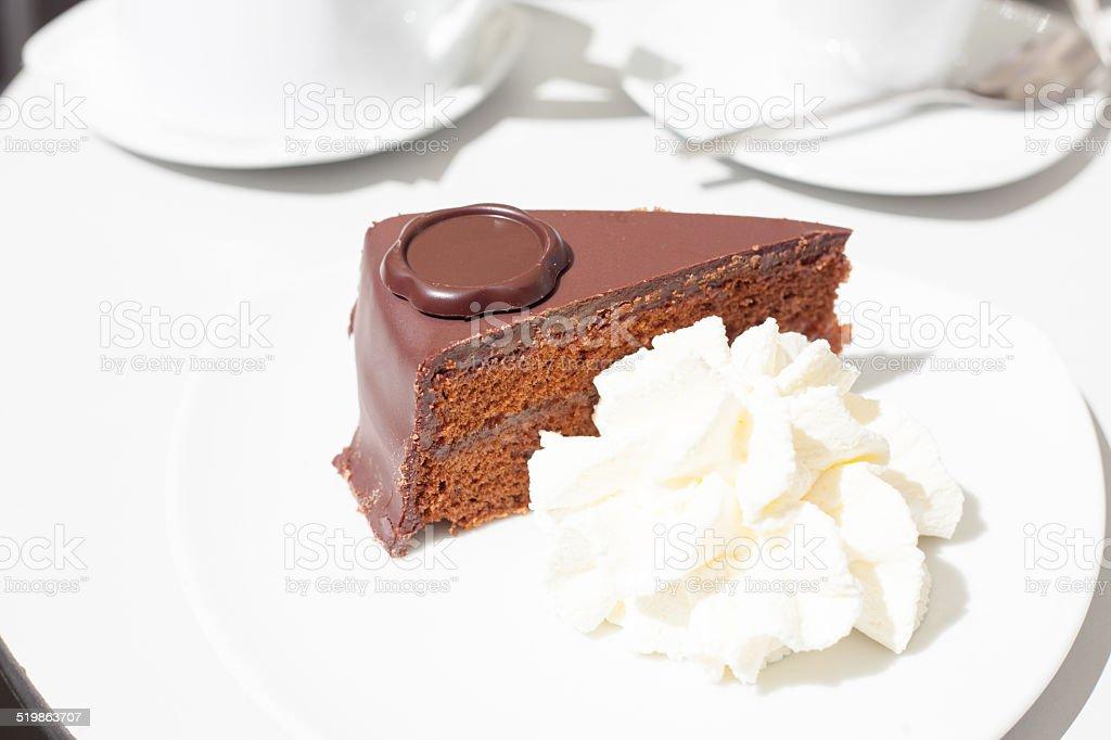 chocolate cake with cream stock photo