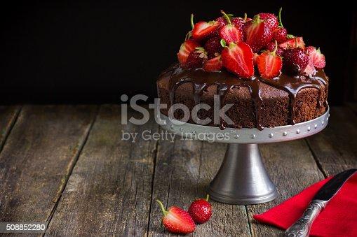istock chocolate cake with  fresh strawberry 508852280