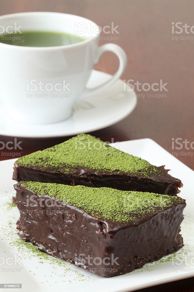 Chocolate cake with green tea powder royalty-free stock photo