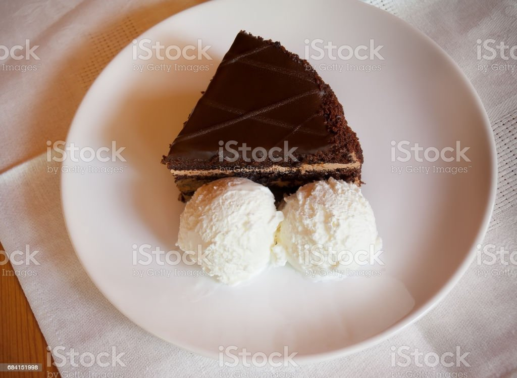 Chocolate cake with ice cream foto stock royalty-free