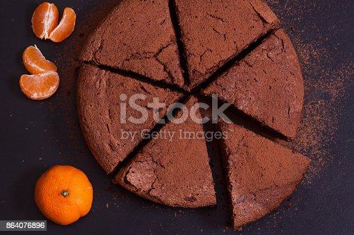 istock Chocolate cake with mandarin 864076896