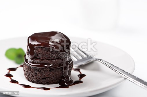 istock Chocolate cake with melted chocolate on top 183810746