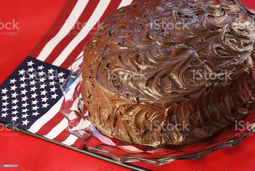Chocolate Cake with Patriotic Background royalty-free stock photo