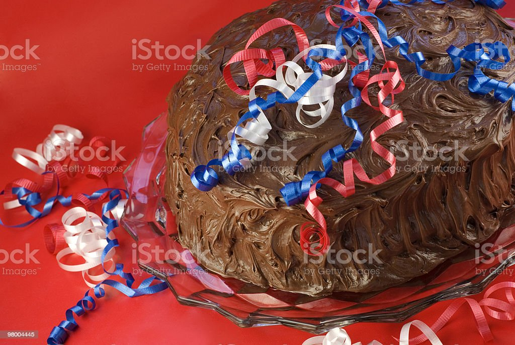 Chocolate Cake with Red White Blue Decorations royalty-free stock photo