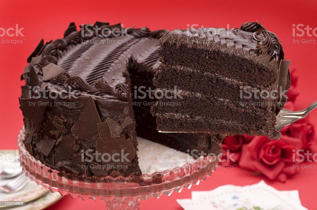 chocolate cake with slice on server stock photo
