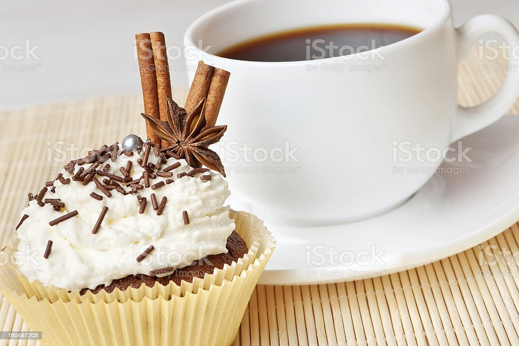 chocolate cake with whipped cream, decorated anise and cinnamon royalty-free stock photo
