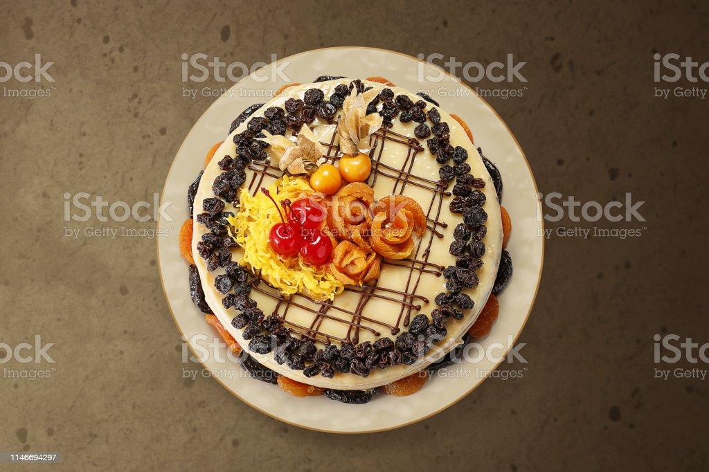 Bolos de chocolate, tortas de chocolate, fundo de madeira, açúcar de...