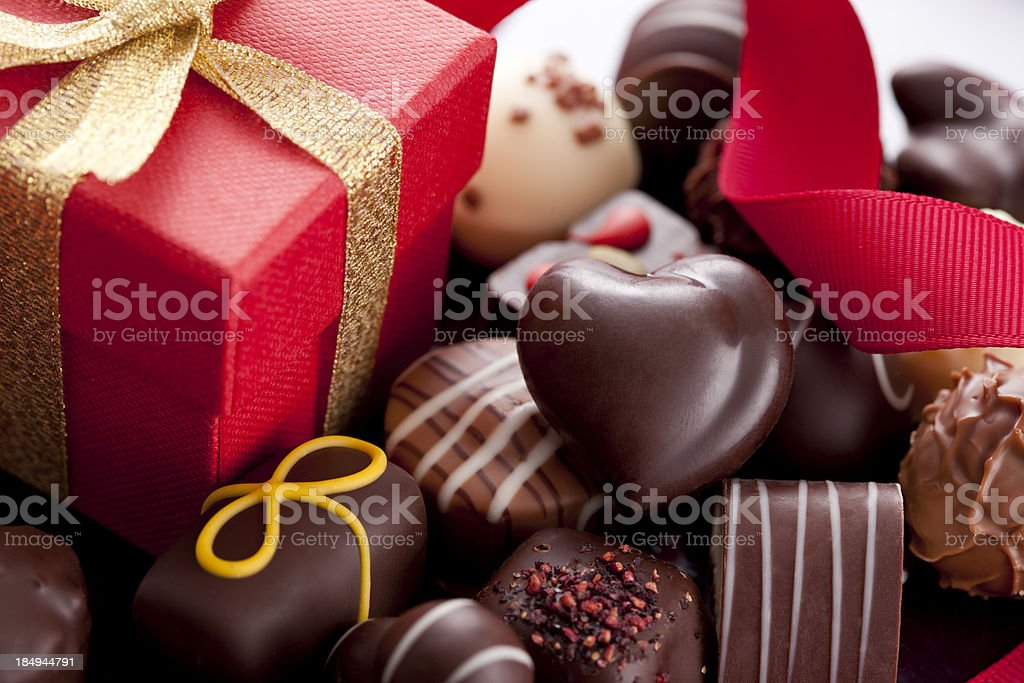 Chocolate Candies and Gift Box stock photo
