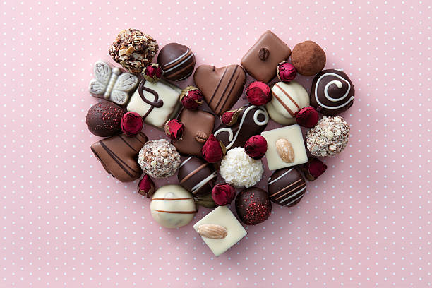 Chocolate candies heart stock photo