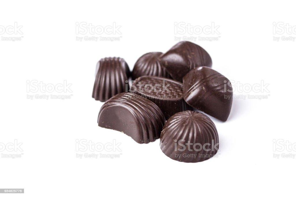 초콜릿 캔디 흰색 배경 - 로열티 프리 갈색 스톡 사진