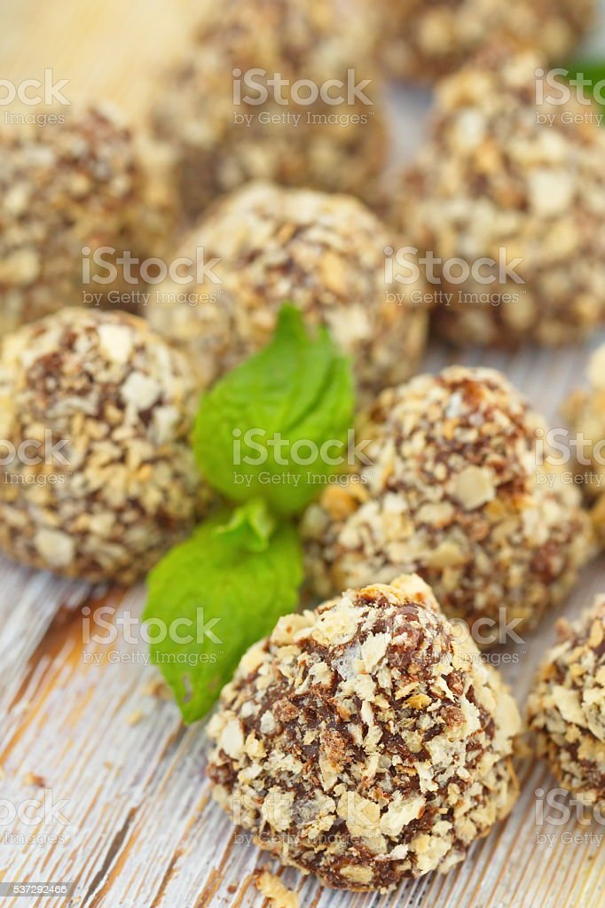 Chocolate candies with waffle crumbs stock photo