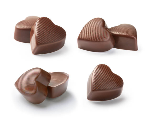 chocolate candy  heart on a white background stock photo