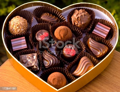 istock Chocolate Candy Truffles in Valentine's Day Heart Gift Box 172641181