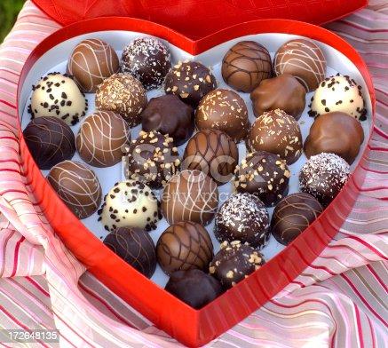 183269671istockphoto Chocolate Candy Truffles, Sweet Food & Valentine's Day & Heart Gift Box 172648135