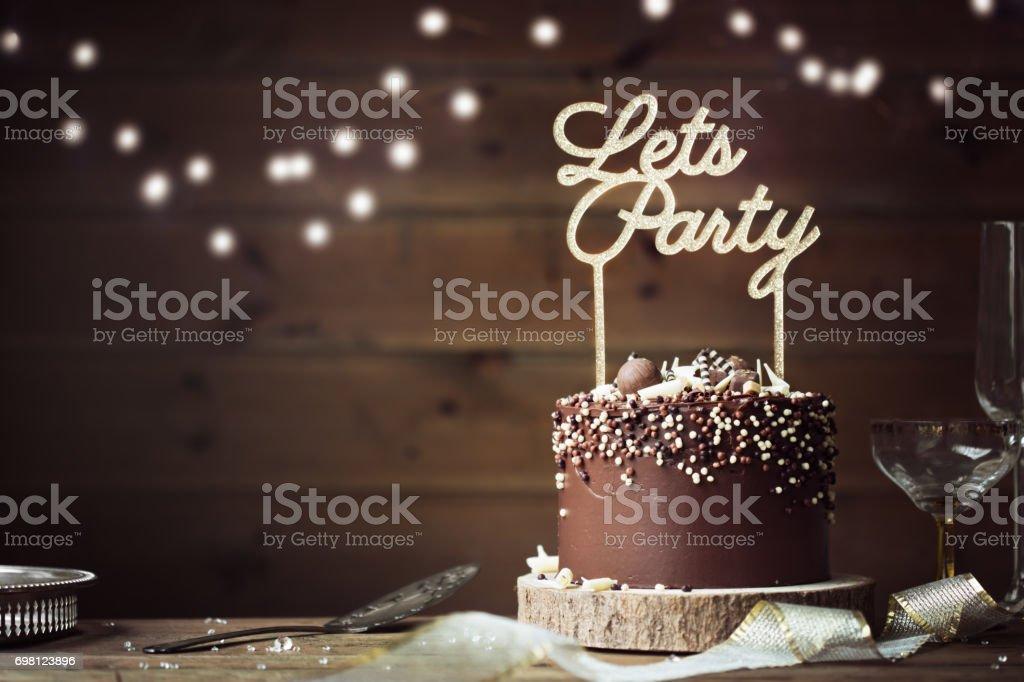 Chocolate celebration cake stock photo