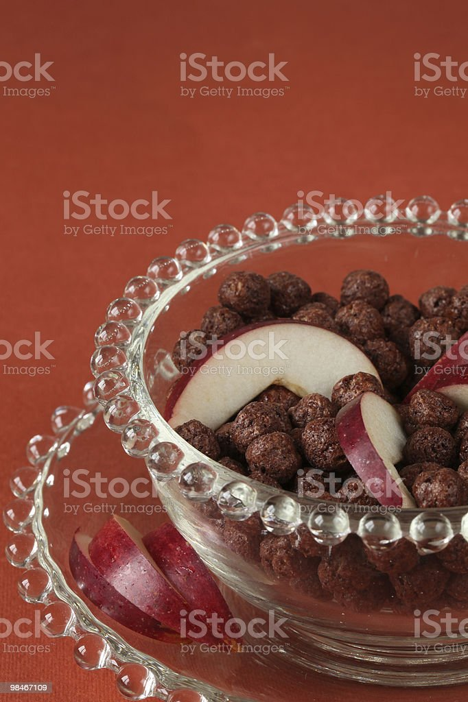 Cioccolato cereali con mela foto stock royalty-free