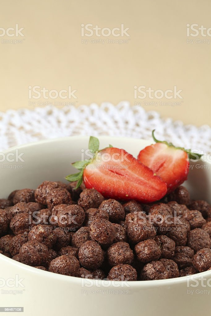 Chocolate cereals with strawberries royalty-free stock photo
