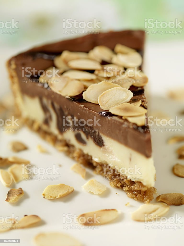 Chocolate Cheesecake with Toasted Almonds royalty-free stock photo