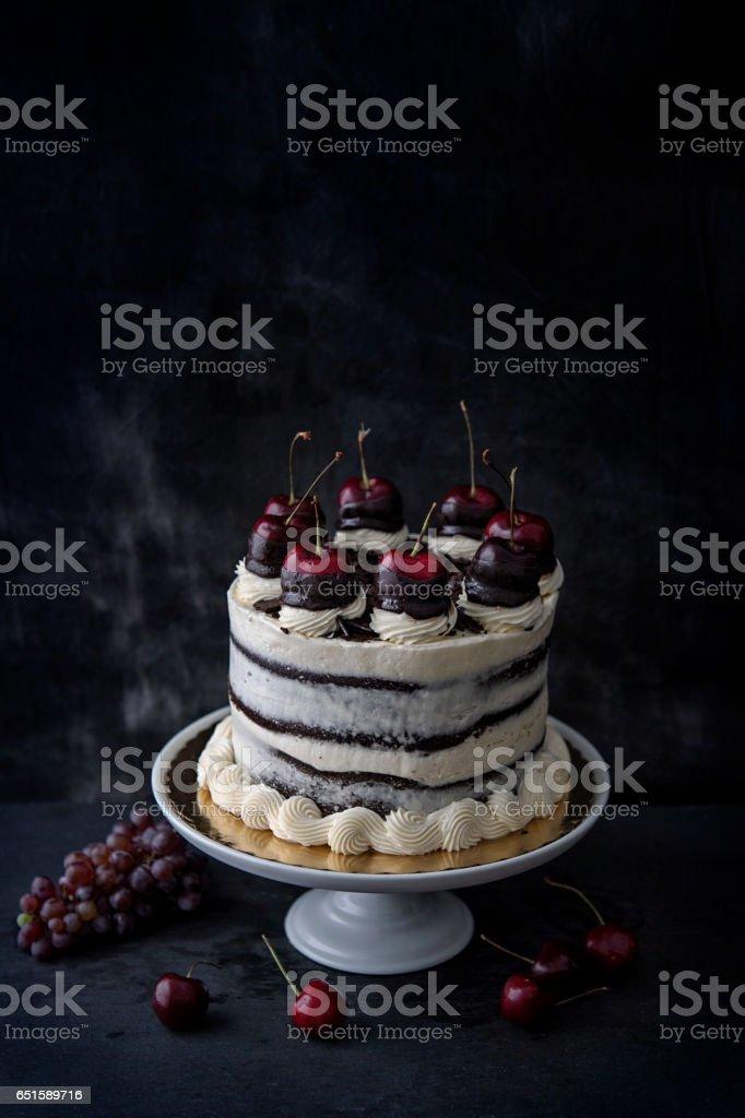Chocolate Cherry Cake stock photo