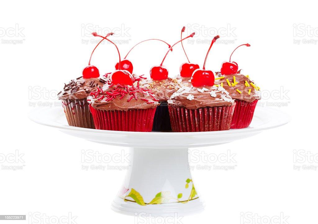 Chocolate Cherry Cupcakes stock photo
