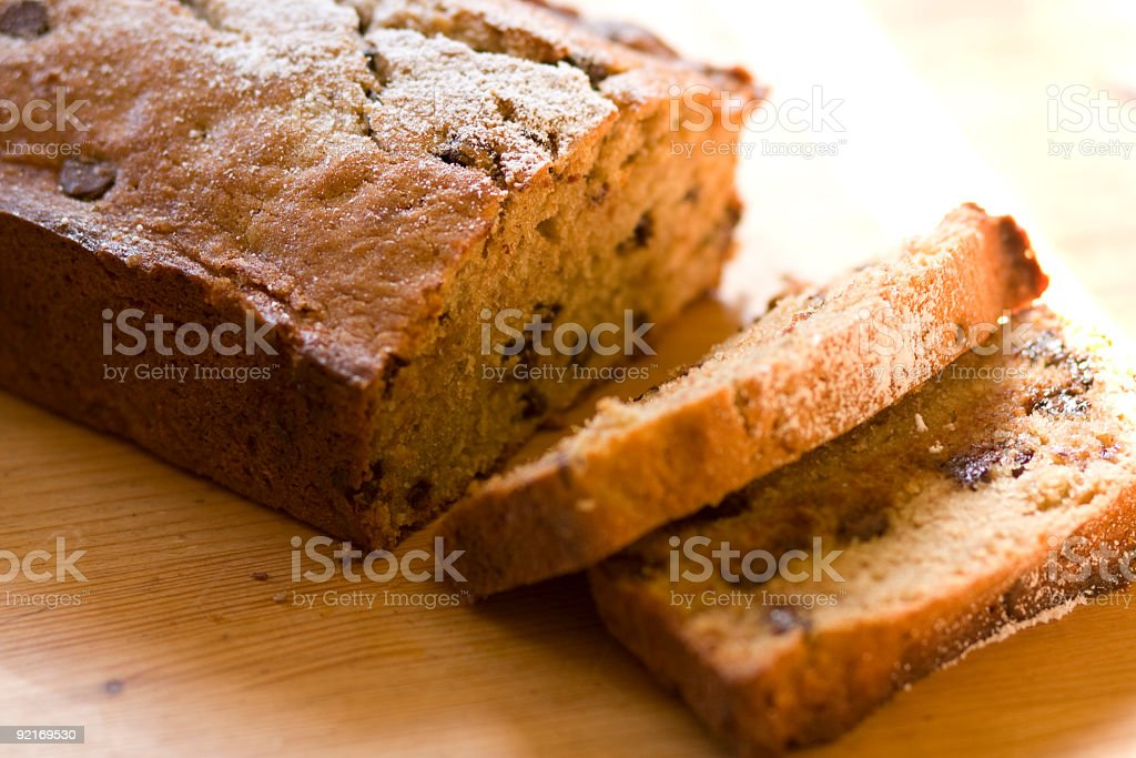 Chocolate chip banana bread on wooden surface  stock photo