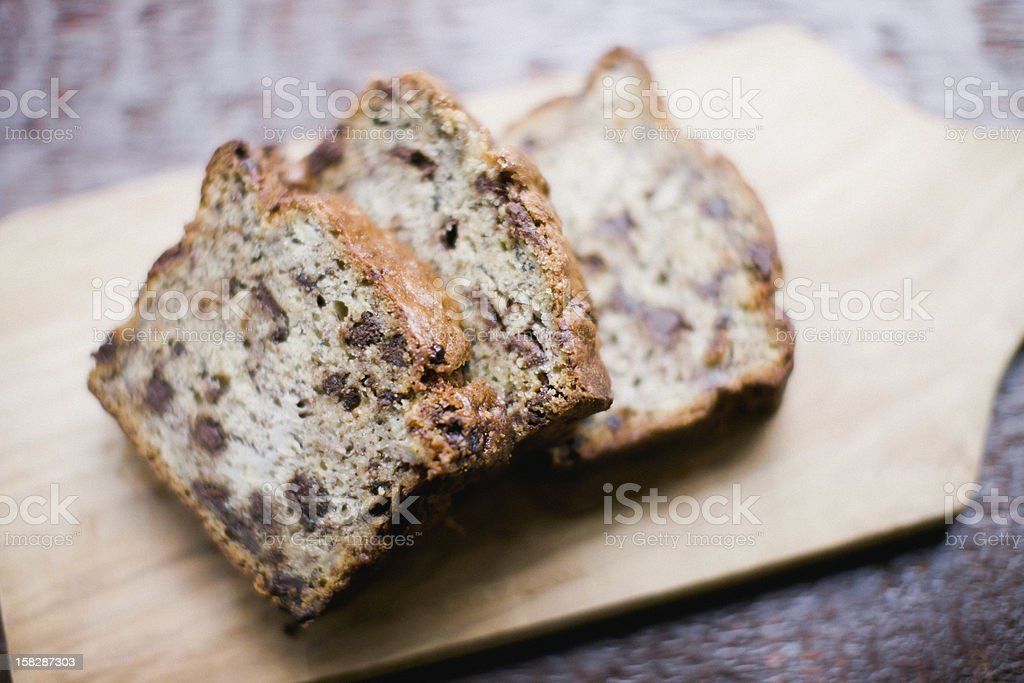 Chocolate chip banana bread stock photo
