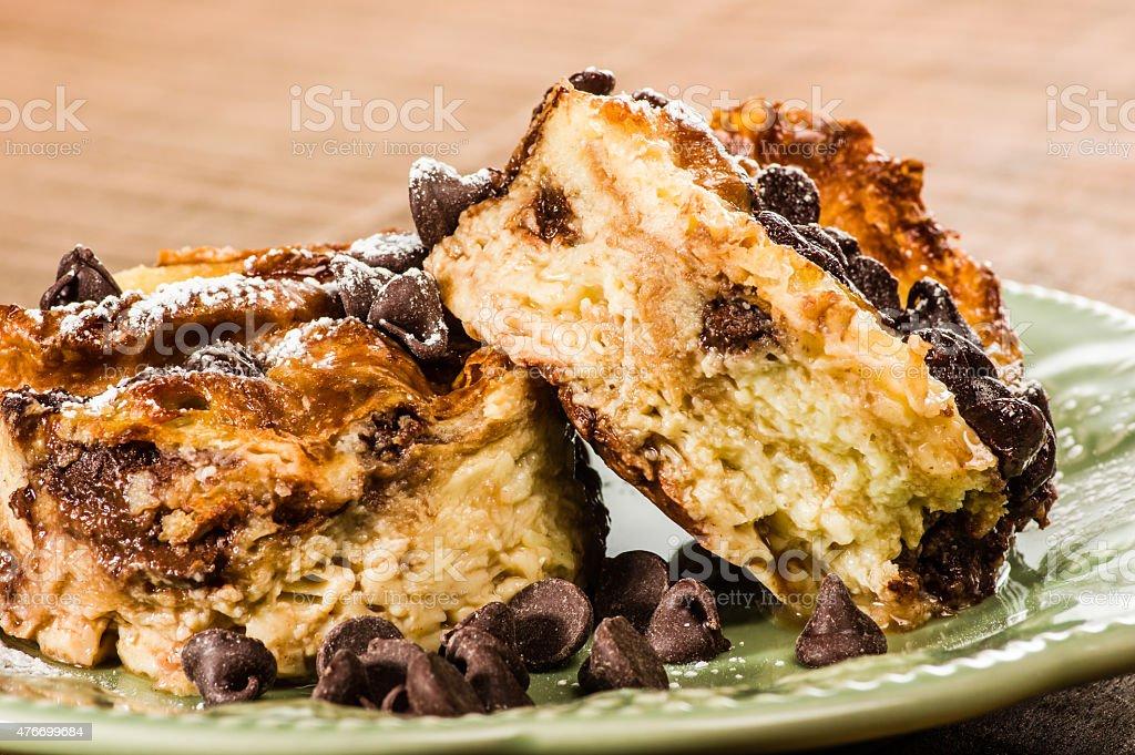 Chocolate chip bread pudding dessert stock photo