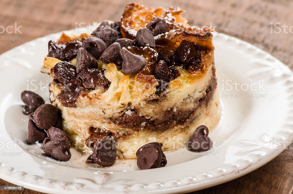 Chocolate chip bread pudding on plate stock photo