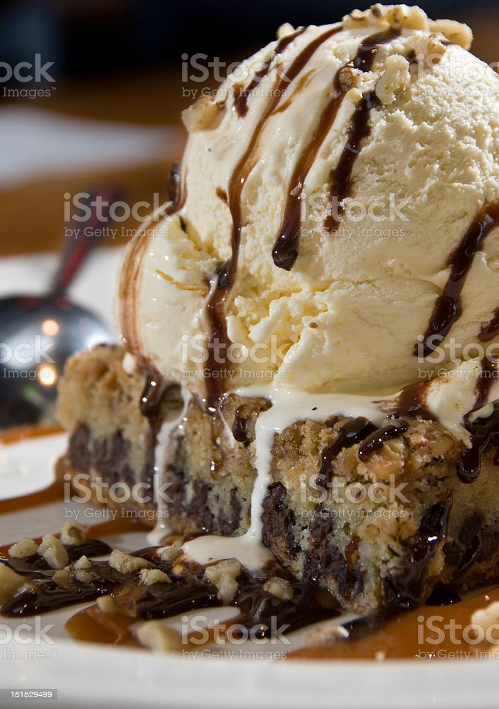 Chocolate chip brownie sundae stock photo
