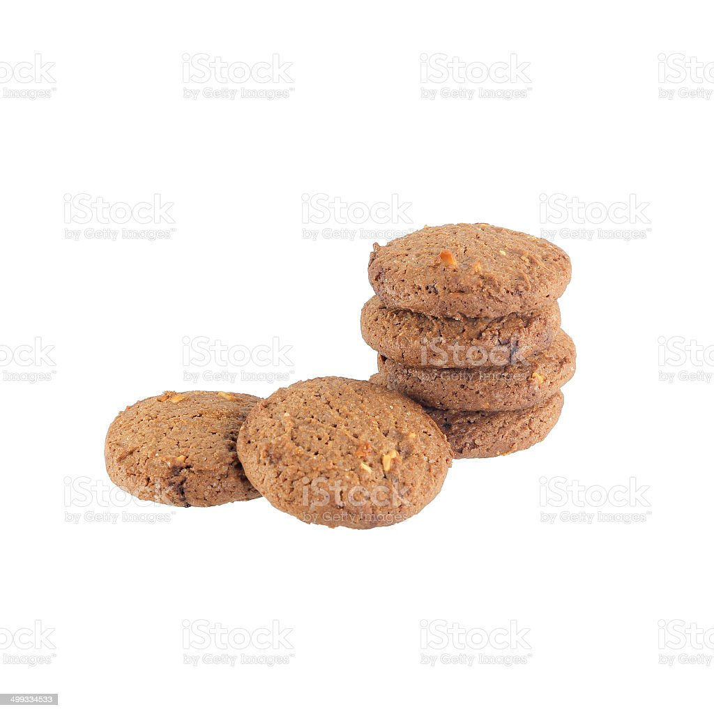 Chocolate chip butter cookies stock photo