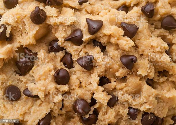 Close up shot of chocolate chip cookie dough.