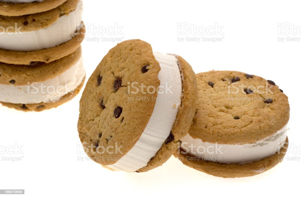 Chocolate chip cookie ice cream sandwich on white royalty-free stock photo