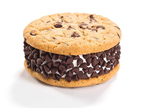 Chocolate Chip Cookie Ice Cream Sandwich stock photo