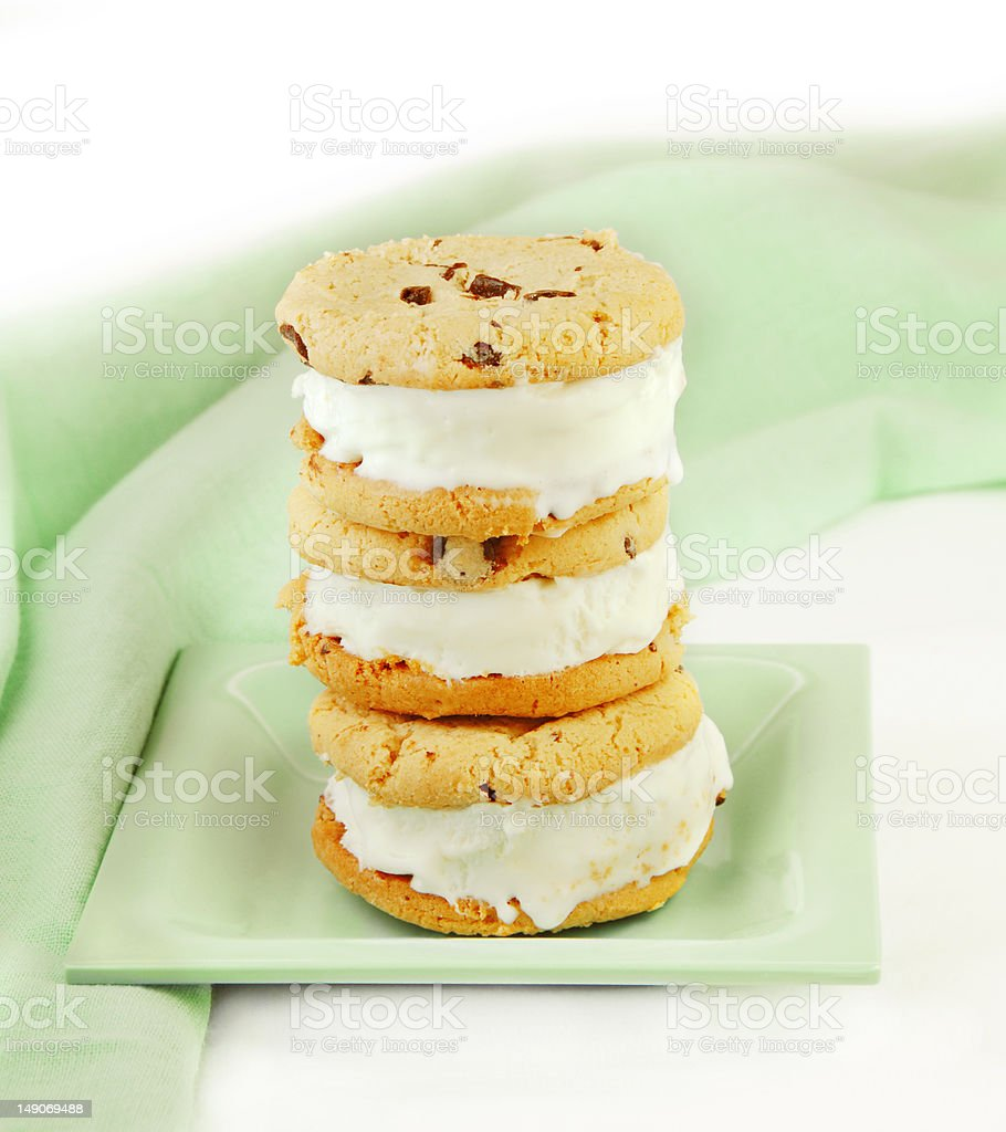 Chocolate Chip Cookie Ice Cream Sandwiches royalty-free stock photo