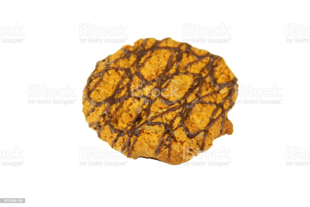 cookie aux pépites de chocolat isolé sur fond blanc  photo libre de droits