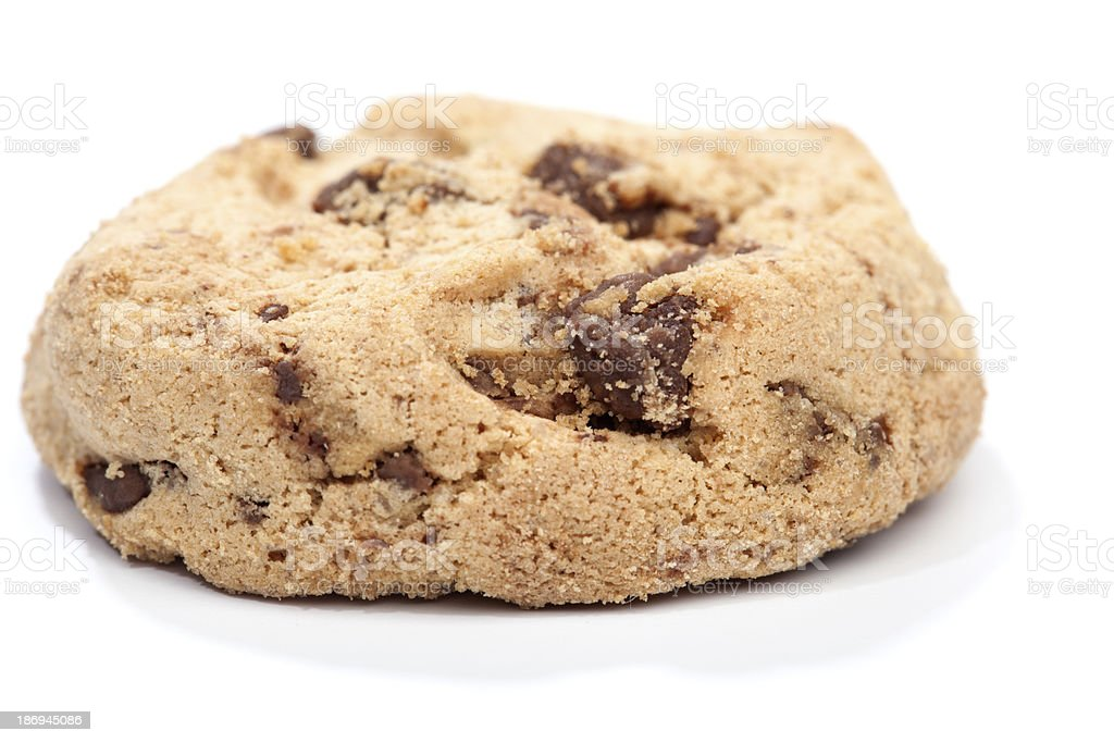 Chocolate chip cookie, isolated on white royalty-free stock photo