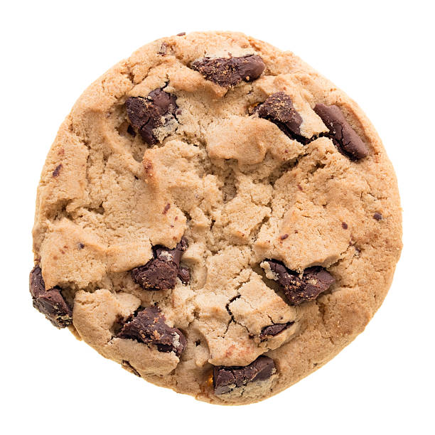 Chocolate chip cookie isolated Chocolate chip cookie isolated on white background. Cookie photographed from above clear isolated without shadow. chocolate chip cookie stock pictures, royalty-free photos & images