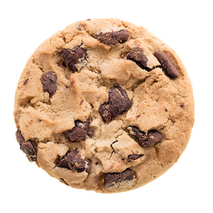 Chocolate chip cookie isolated on white background. Cookie photographed from above clear isolated without shadow.