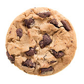 Fresh chocolate chip cookie isolated on white...