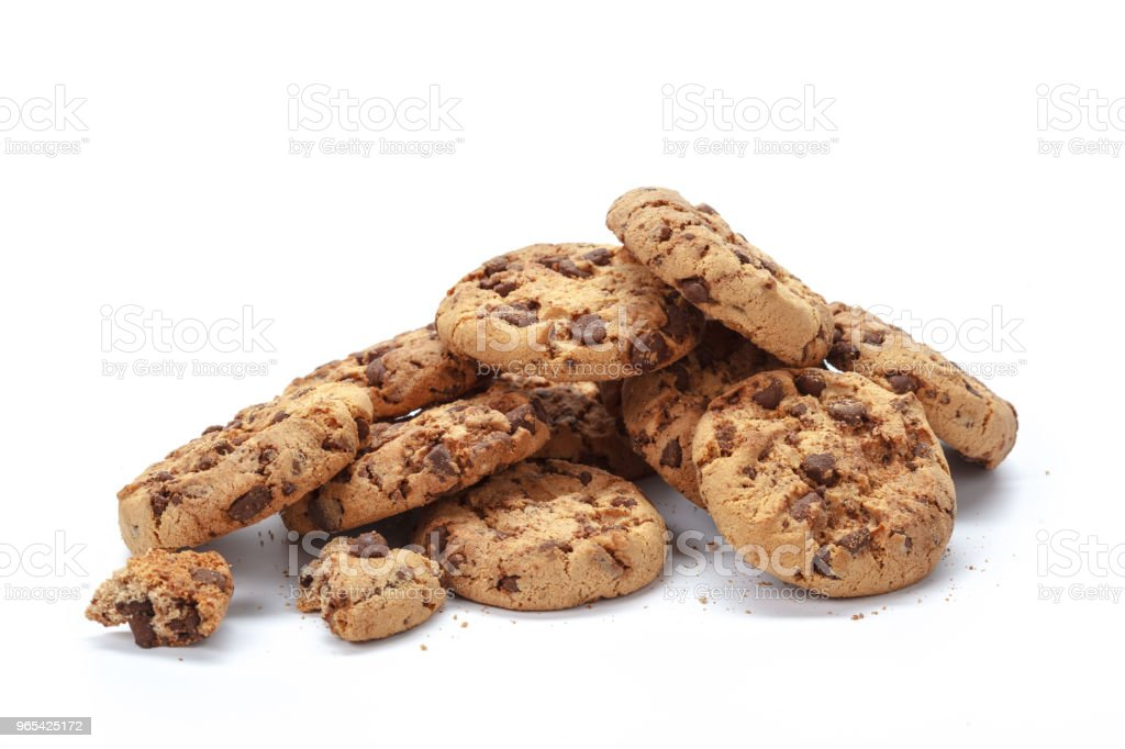 Chocolate chip cookie on white royalty-free stock photo