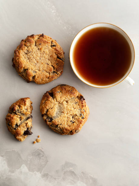 Chocolate chip cookie, Paleo Chocolate Chip Cookies with tea, Gluten Free, stock photo